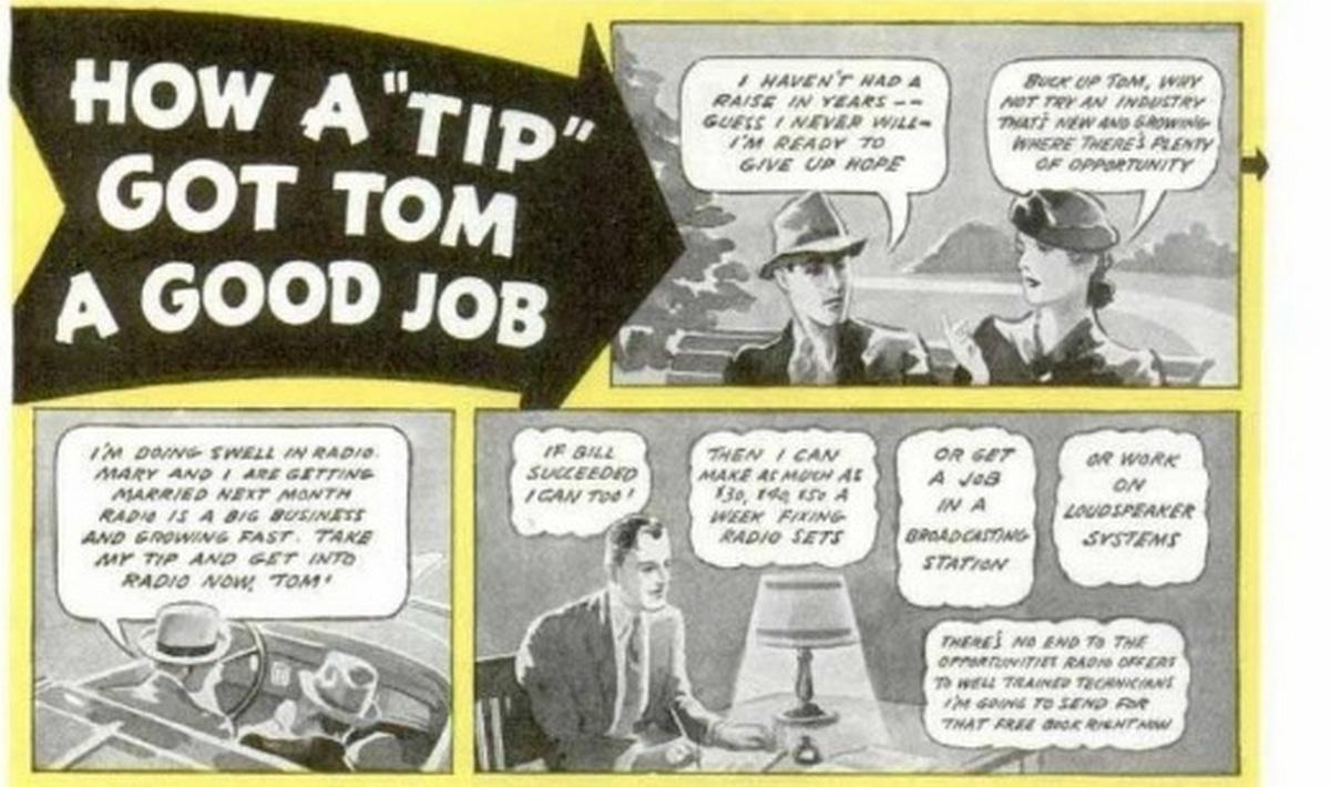 Таким мини-комиксом Popular Mechanics 1940 №1 иллюстрировал социальный лифт в радиоэлектронике – выучился, получил приличную работу…