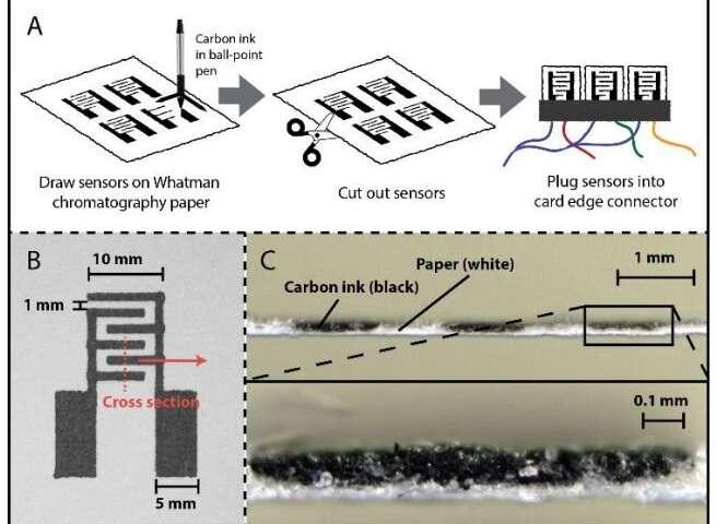 Для экспериментов электроды рисовали на бумаге шариковой ручкой с углеродными чернилами…