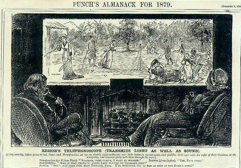 Эпохи пересекаются – за 15 лет до выхода в свет «Трильби» Дю Морье таким шаржем в Punch проиллюстрировал изобретение Эдисоном телефоноскопа (перед нами Smart-TV, а его уязвимости известны…)